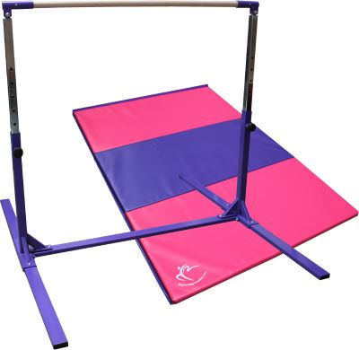 Tall Gymnastics High Bar Adjustable to 190cm & Folding Panel Mat 1.8m