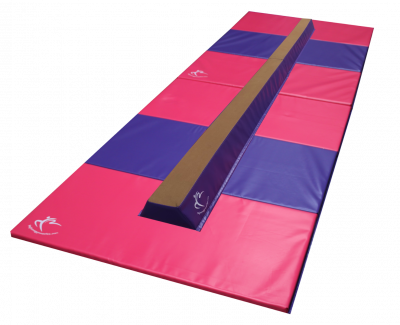 Deluxe Folding Balance Beam and Pack of Two Panel Mats